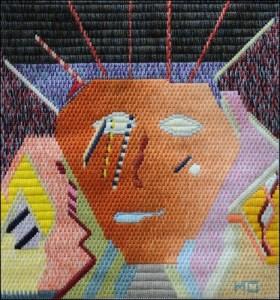 Mark Olshansky abstract needlepoint The Sqworm