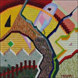 Mark Olshansky abstract needlepoint Brooklyn Fish Farm