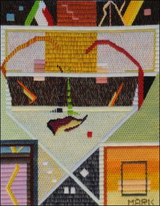 Mark Olshansky abstract needlepoint My Heart is in the Theatre