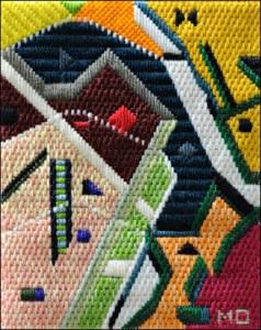 Mark Olshansky abstract needlepoint Three Tiers of Jumbled Mozart