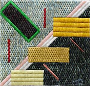 Mark Olshansky abstract needlepoint Basking Tables