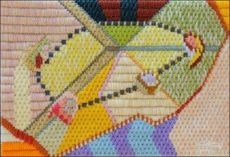 Mark Olshansky abstract needlepoint Out of Round
