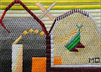 Mark Olshansky abstract needlepoint Startled Critter
