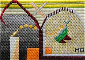 Mark Olshansky abstract needlepoint Startled Critter