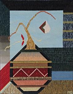 Mark Olshansky abstract needlepoint Onion with Two Fleas