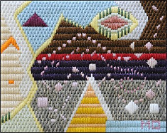 Mark Olshansky Abstract Needlepoint Dancing Pollinator