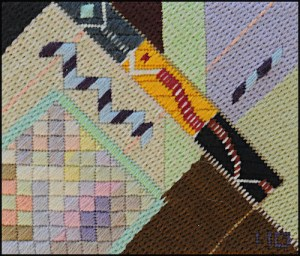 Mark Olshansky Abstract Needlepoint Quilted Junction