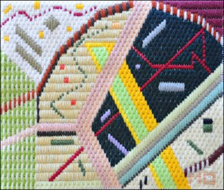 Mark Olshansky abstract needlepoint Miscast Rigatoni