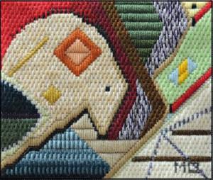 Mark Olshansky abstract needlepoint Playing Possum