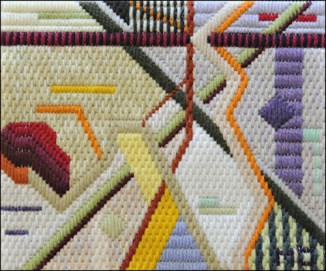 Mark Olshansky abstract needlepoint Purple Snarl Without Much Purple