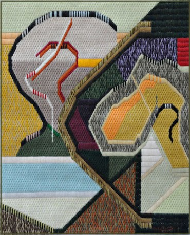 Mark Olshansky abstract needlepoint Waterrise