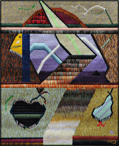 Mark Olshansky abstract needlepoint Long Discussion, No Decision