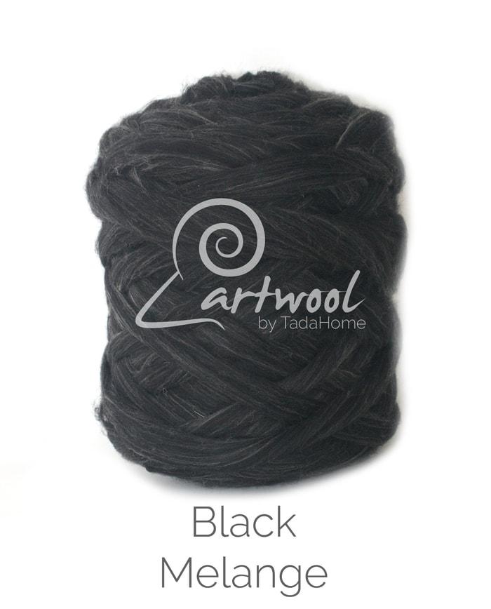 black melange Merino Wool Chunky Yarn