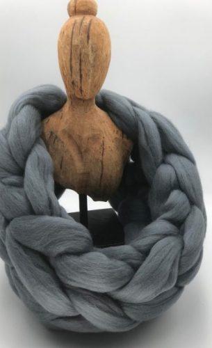Grey Merino Wool Chunky Scarf