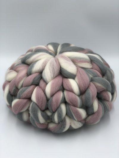 Pearl Rose Melange - Chunky Knit Cushion - Round Merino Wool Pillow