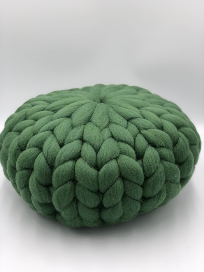 Green Grass Merino Wool Round Cushion