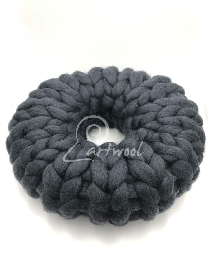 Graphite 40 cm Chunky Knit Cushion - Doughnut Merino Wool Cushion