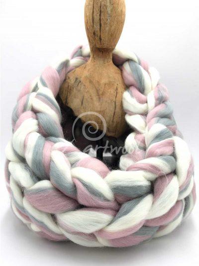 Pearl Rose Melange Merino Wool Chunky Infinity Scarf