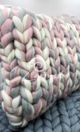 Pearl Rose Super Chunky Knit Cushion - Square Merino Wool Pillow
