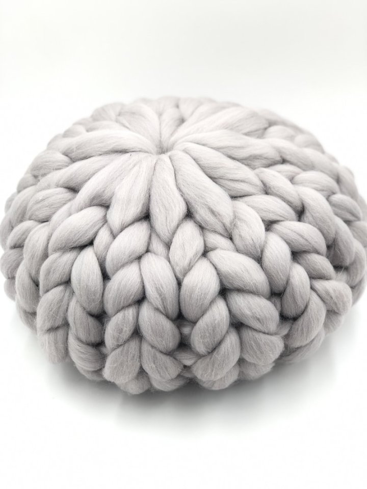 Satin Grey 30 cm - Chunky Knit Cushion - Round Merino Wool Pillow