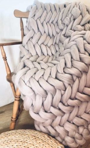 Satin / Mink Grey - Blanket 100% Merino Wool Super Chunky Blanket