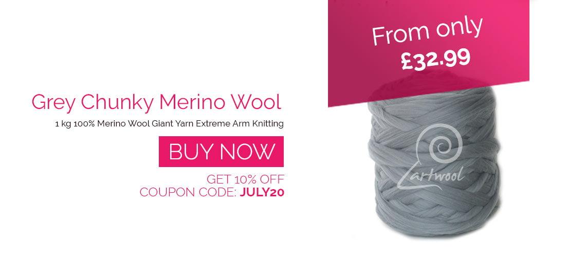 Grey Merino Wool Chunky Yarn