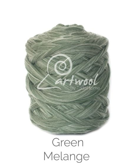 Green Melange 100% Merino Yarn Wool Giant Chunky Extreme Big Arm Knitting 1 kg