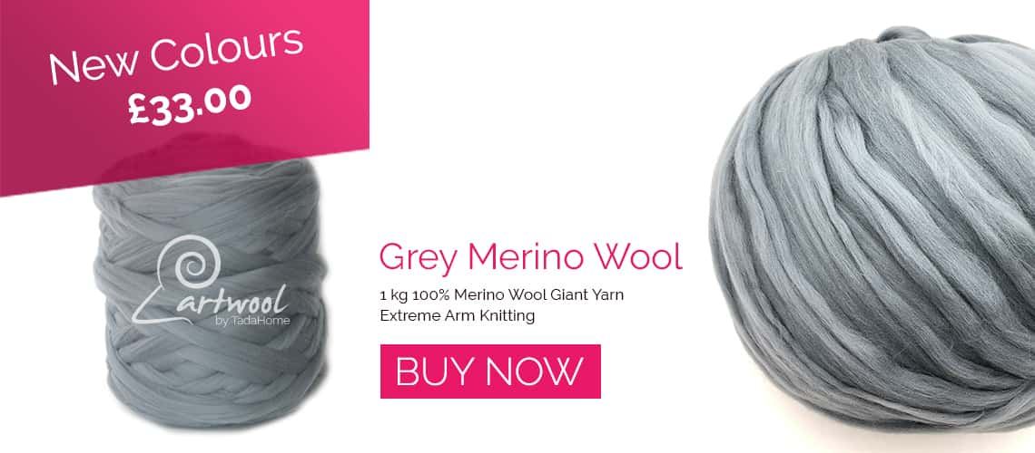 Grey Chunky Merino Wool Yarns