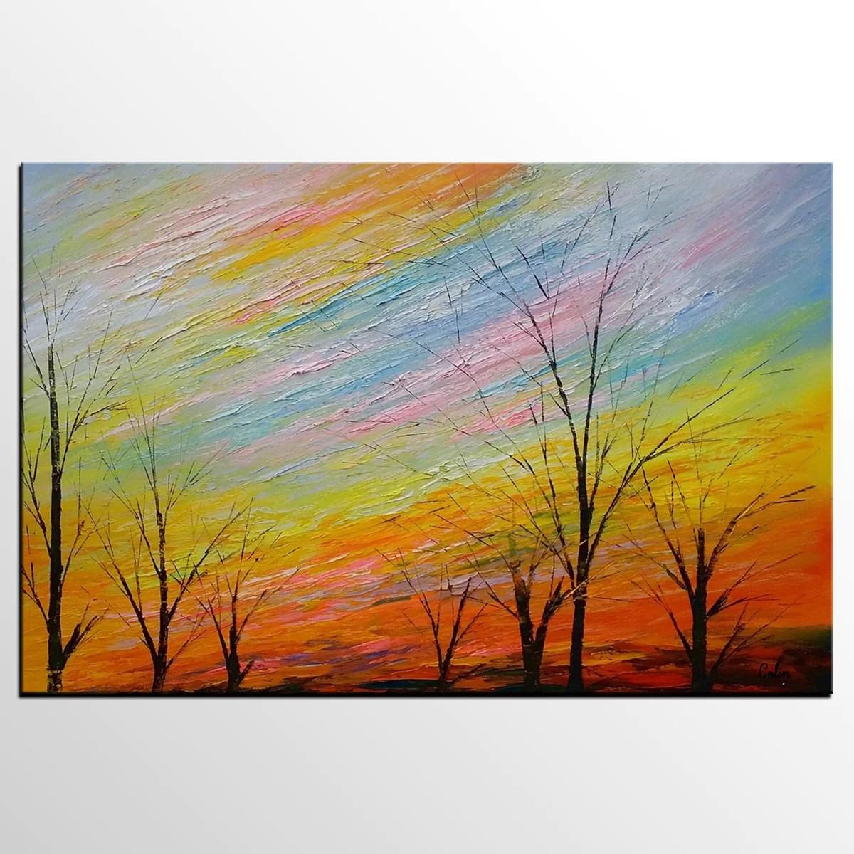 Art Painting, Original Painting, Colorful Sky Painting