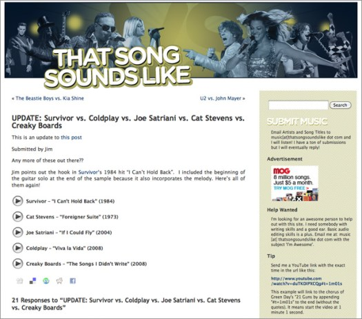 ThatSongSoundsLike.com - a music comparison site by Keith Hopkin