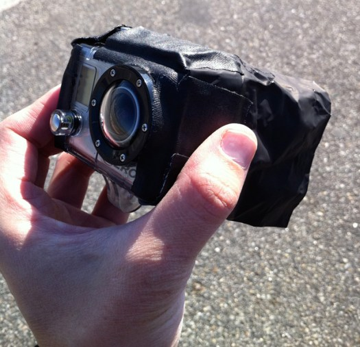 GoPro with black cinefoil to block sunlight