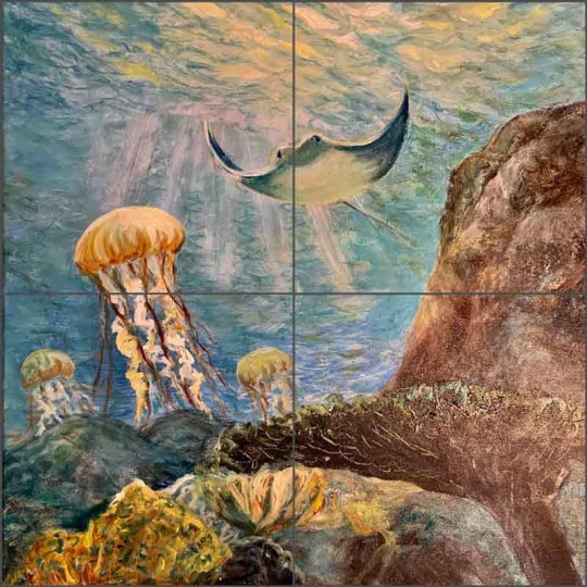 jellys ray by joanne morris glass wall tile mural jm132