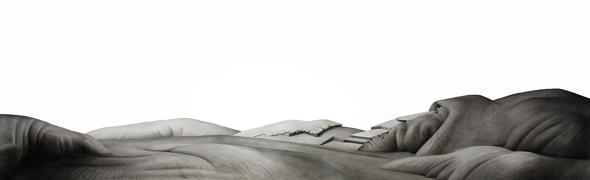 drawing of altered landscape with features resembling human hand