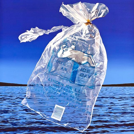 realist painting of plastic bag