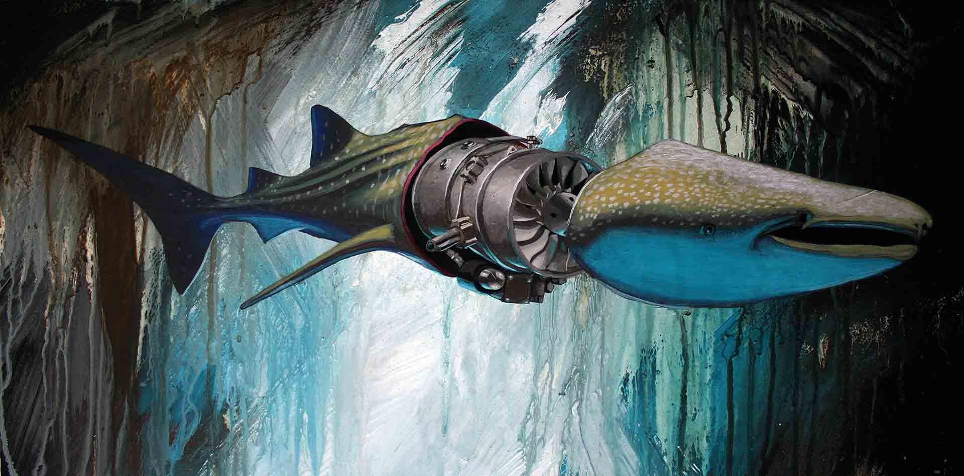 whale shark with machine engine body