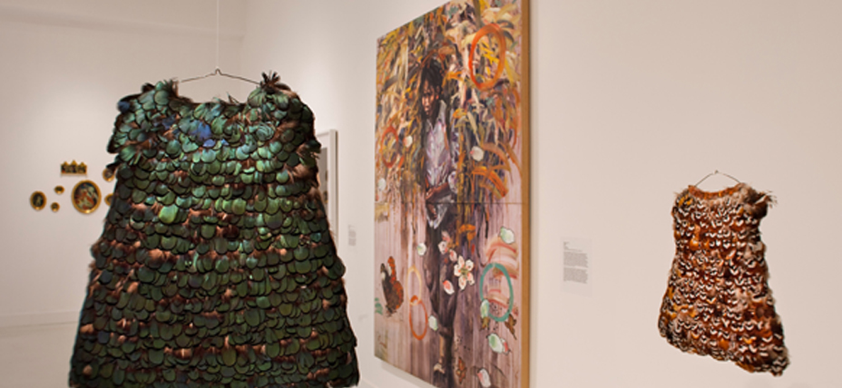 installation of dresses made from feathers
