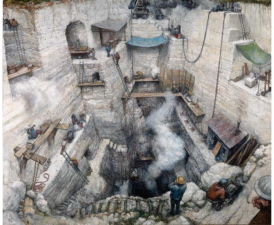 quarry pit with workers