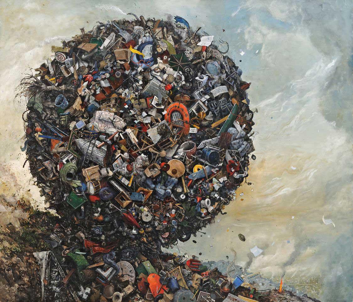 ball of trash rolling downhill
