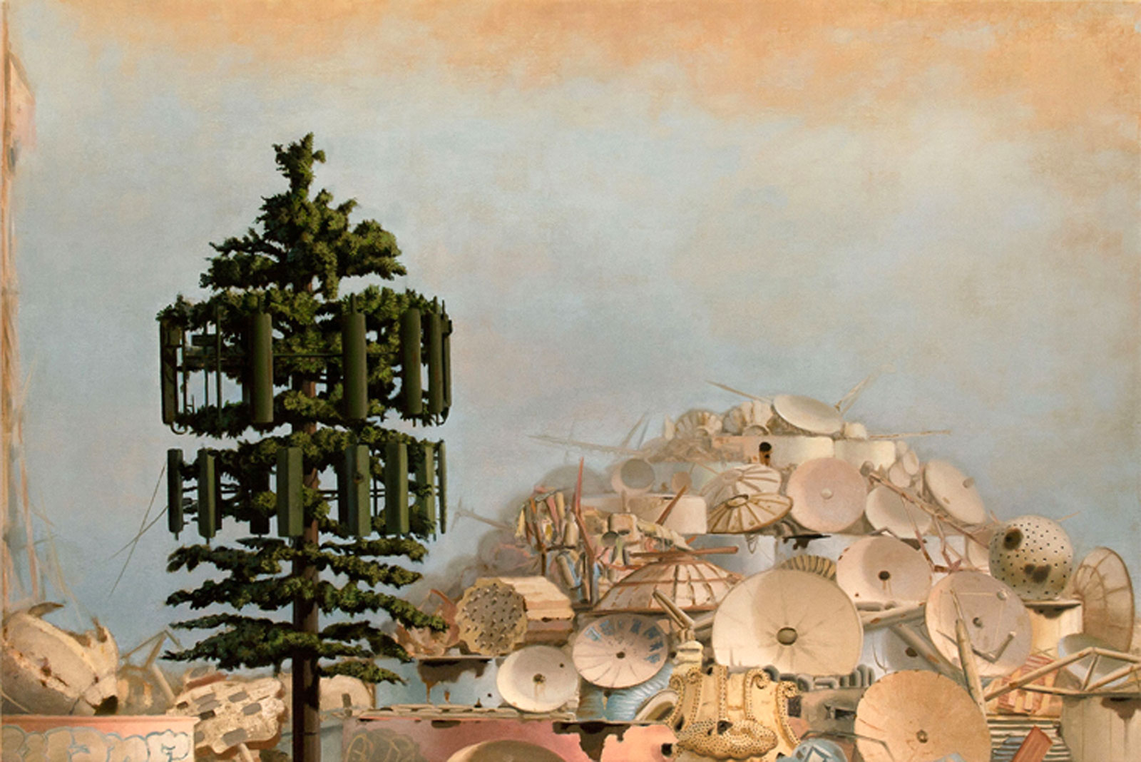 satellite dishes and celltower resembling a pine tree