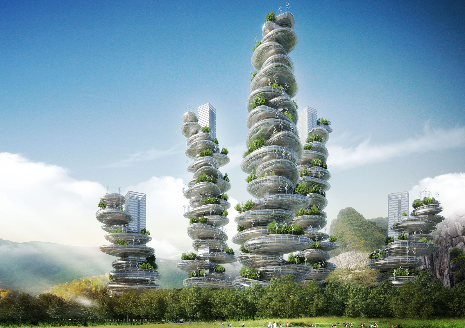 green architecture resembling cairns