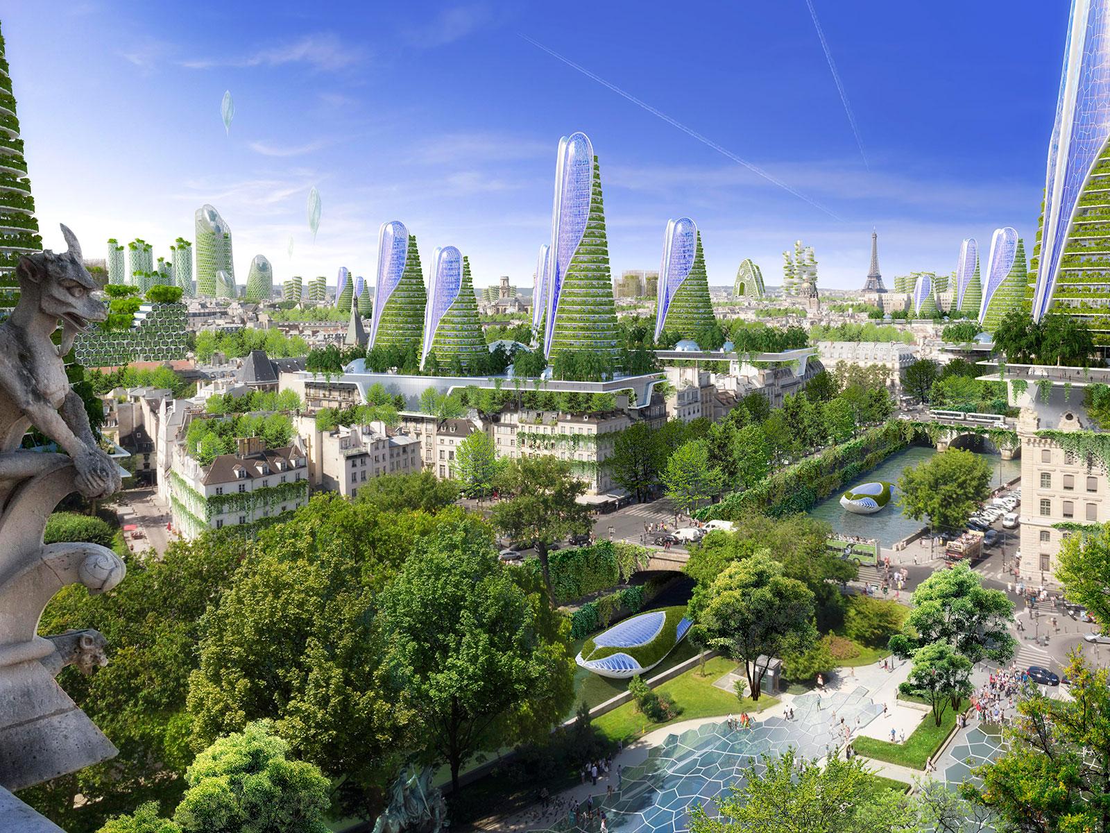 green architecture city skyline in Paris