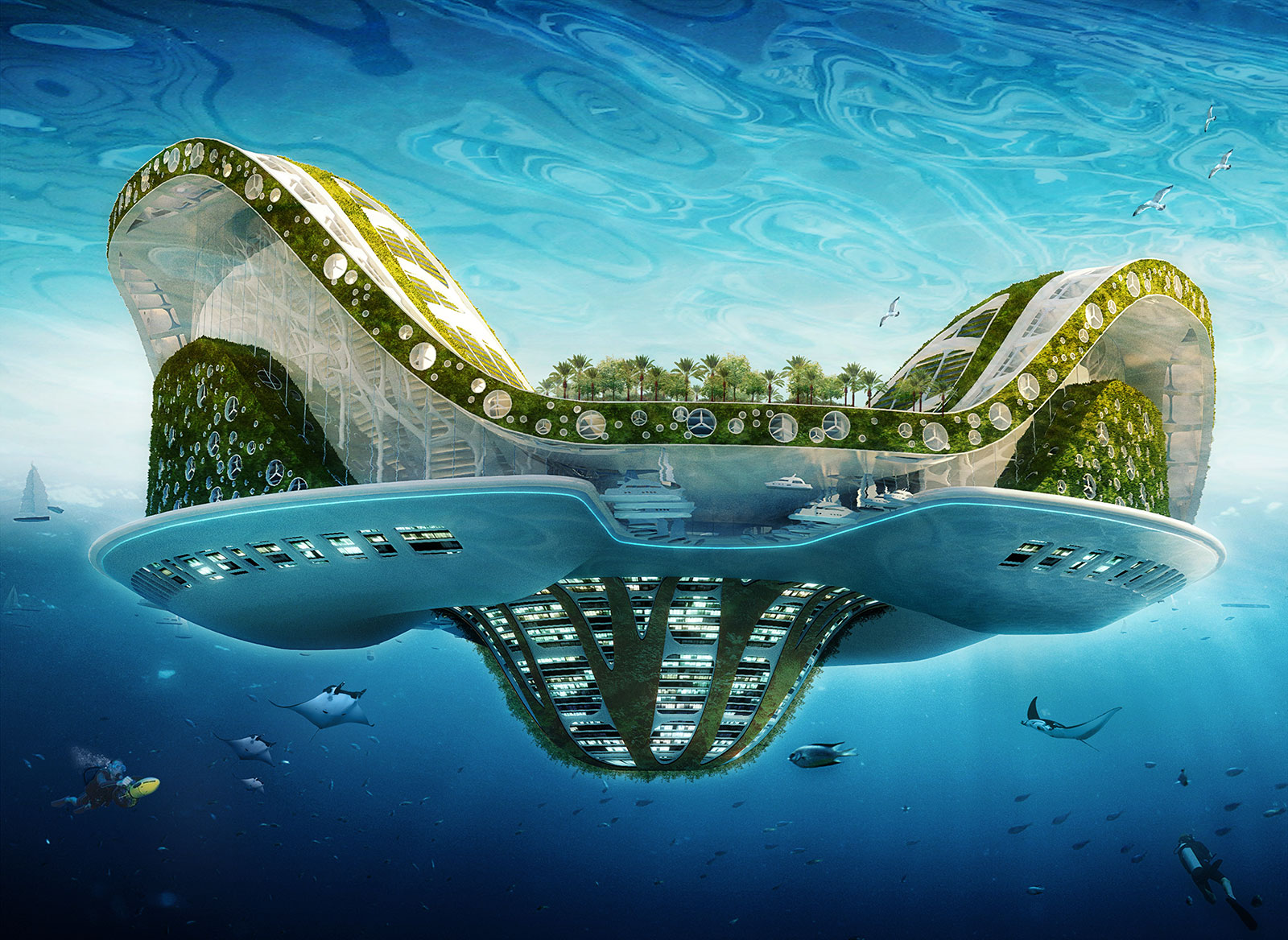 Floating architectural city shaped like lilypad