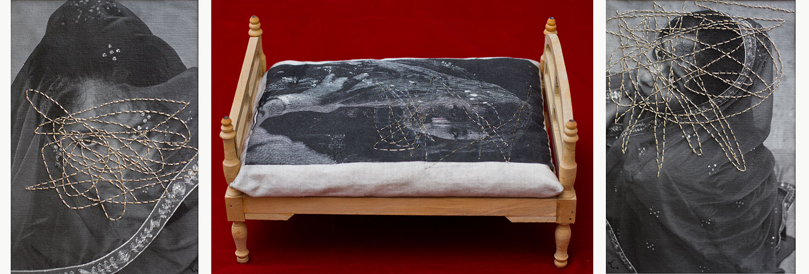pillow with sewing over woman's face