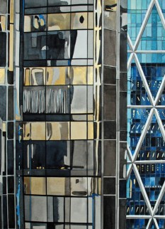 Glass in Columbus Circle 2, 2012 , watercolor on paper , 30 x 22 inches - Urban Architecture