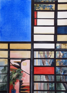 Charles and Ray Eames House #4, Pacific Palisades, CA, 1950, 2012 , watercolor on paper , 30 x 22 inches - Urban Architecture