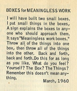 Boxes for meaningless work