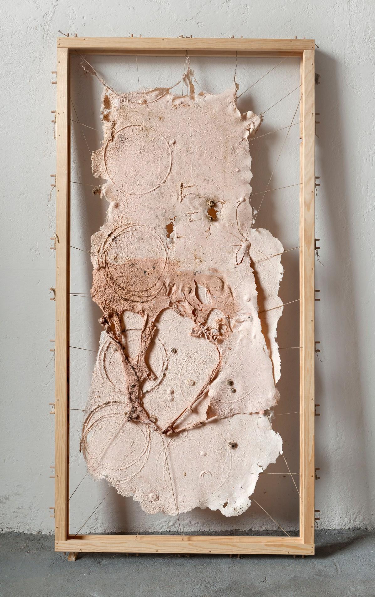 Chiara Bettazzi, Vellum, 2014. 100 x 200 cm. (Gomma siliconica, pigmento, ami da pesca, corda, telaio)