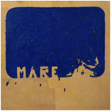 Mario Schifano, Mare, 1978, smalti e collage su carta povera, cm 100 x 100