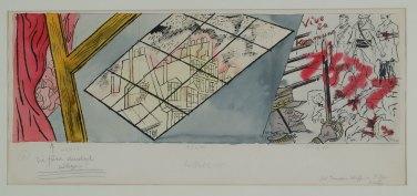 """Grosz, """"Vive la Kommune"""", 1925, acquerello, cm 31x65"""