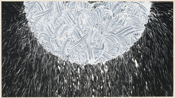 RICHARD LONG Untitled 2008 China clay with acrylic medium and paint on wood 125 x 220 cm - courtesy Galleria Lorca O'Neill